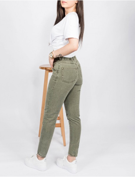 Kadın Haki Kot Boyfriend Yüksek Bel Mom Jean Pantolon