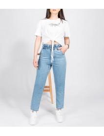 Kadın Açık Mavi  Kot Boyfriend Yüksek Bel Mom Jean Pantolon