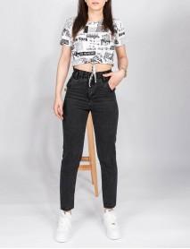 Kadın Siyah Kot Boyfriend Yüksek Bel Mom Jean Pantolon