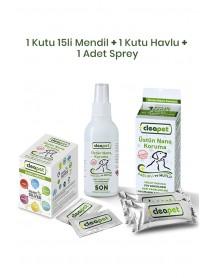 Cleapet Maxi Sağlık Paketi (1 ad. 2'li Havlu + 1 ad. Sprey + 1 ad. 15'li Mendil)