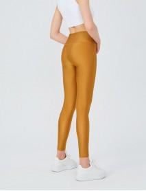 Gold Uzun Parlak Yüksek Bel Kadın Tayt Modeli